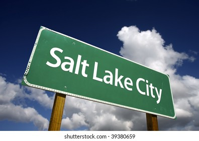 Salt Lake City Road Sign with dramatic blue sky and clouds - U.S. State Capitals Series.