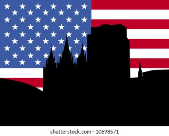 Salt Lake city skyline with American flag illustration JPG