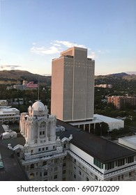 Salt lake city skyline and Mormon office building