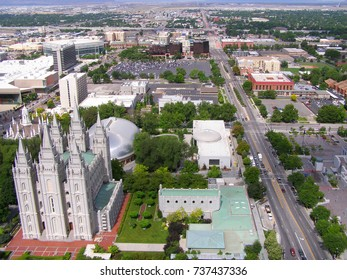 Salt Lake City skyline with mormon temple. Temple of the Church of Jesus Christ of Latter-day Saints in Salt Lake City, Utah from the height of the aircraft.
