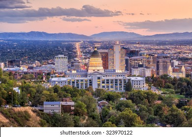Salt Lake City skyline Utah at night