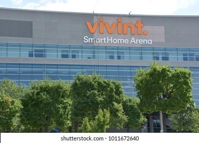 SALT LAKE CITY, UT - AUG 30: Vivint Smart Home Arena in Salt Lake City, Utah, as seen on Aug 30, 2017. The arena is the home of the Utah Jazz of the National Basketball Association (NBA).