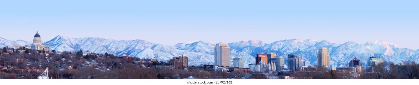 SALT LAKE CITY, UT - MARCH 4,2015: Salt Lake City at sunset Panorama with Capitol Building