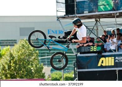 SALT LAKE CITY, UT - SEPTEMBER 19: Garrett Reynolds competes in the finals of the BMX park at the 2009 Dew Tour Toyota Challenge on September 19, 2009 held in Salt Lake City, Utah