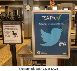 Salt Lake City, UT / USA -02/27/2019: TSA Checkpoint at the Airport