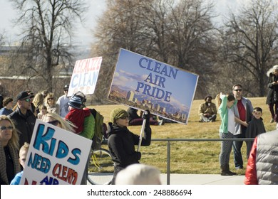 Salt Lake City, UT, USA - January 31, 2015. A crowd gathers in front of the Utah State Capitol building demanding a solution to air pollution in Salt Lake City.