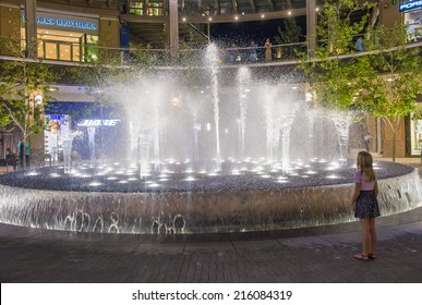 SALT LAKE CITY , UTAH - AUG 29 : Fountain at the city creek in Salt Lake City , Utah on August 29 2014. The City Creek is upscale open-air shopping center opend in 2012