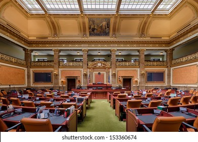 SALT LAKE CITY, UTAH - AUGUST 15: An empty House of Representatives Chamber of the Utah State Capitol building on Capitol Hill on August 15, 2013 in Salt Lake City