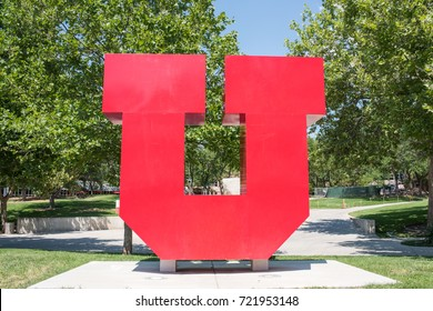 "Salt Lake City, Utah: August 1, 2017:  University of Utah ""U"" logo on campus.  University of Utah was established in February 28, 1850."