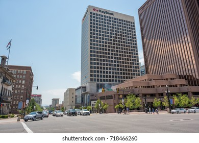 Salt Lake City, Utah: July 17, 2017: Downtown Salt Lake City, state of Utah.  Salt Lake City is the capitol of the state of Utah.