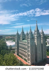Salt Lake City Utah- June 5,2018: Salt Lake City Mormon temple grounds during the spring time is a large Utah tourist attraction which brings people from all over the world.