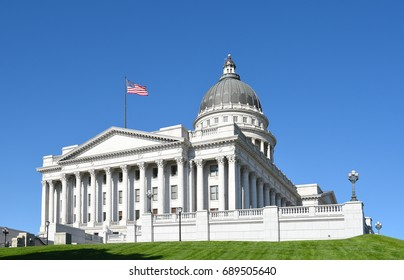 SALT LAKE CITY, UTAH - JUNE 28, 2017: Utah State Capitol building southwest corner. The city donated the land, called Arsenal Hill, to the Utah Territory for the construction of a capitol building.