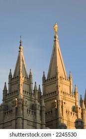 The Salt Lake City, Utah LDS (Mormon) temple taken at dusk.