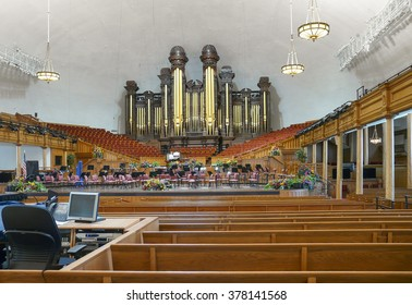 Salt Lake City, Utah - May 13 2008: Interior of the Salt Lake Tabernacle with one of the largest pipe organs in the world.