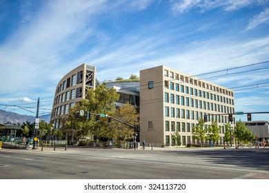 SALT LAKE CITY, UTAH - OCTOBER 1: EXterior of the contemporary Salt Lake City Public Library on October 1, 2015 in Salt Lake City, Utah USA