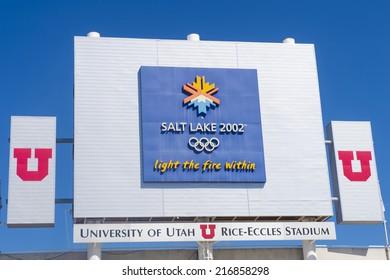 SALT LAKE CITY , UTAH - SEP 01 : The 2002 Olympic park in Salt Lake City on September 01 2014. The Olympic park located at the Rice-Eccles Stadium at the University of Utah