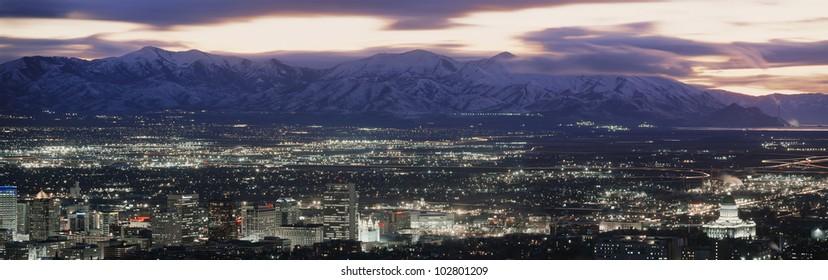 Salt Lake City, Utah skyline at night