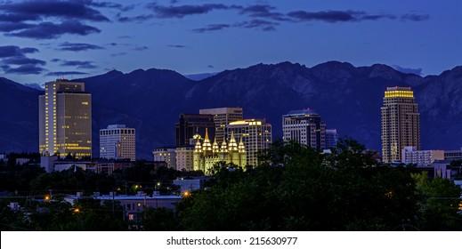 Salt lake City Utah skyline at night Blue sky