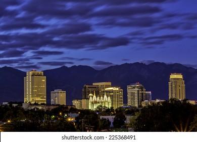 Salt lake City Utah skyline at night