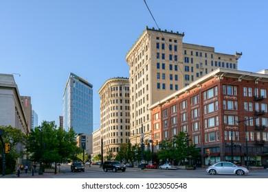 Salt Lake City, Utah, USA - June 23, 2015: View of the central street of Salt Lake City