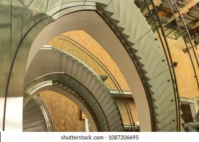 Salt Lake City, Utah, USA - May 2, 2018: Spiral staircase inside the Salt Lake City Public Library building, Utah, USA.