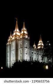 """""""Salt Lake City, Utah / USA - May 27 2017: Photograph of the Salt Lake City Temple of the Church of Jesus Christ of Latter-day Saints, taken at night"""