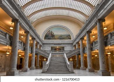 Salt Lake City, Utah / USA - May 30 2018:  Utah State Capitol