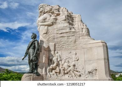 Salt Lake City, Utah / USA - May 30 2018: Mormon Battalion Monument at Utah State Capitol