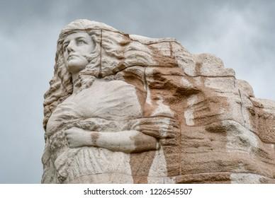 Salt Lake City, Utah / USA - May 30 2018:  Top of the Mormon Battalion Monument at Utah State Capitol