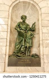 Salt Lake City, Utah, USA / September 22, 2018: The building houses the chambers and offices of the Utah State Legislature, the offices of the Governor, Lieutenant Governor and more. Statue.