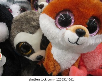 Salt Lake City, Utah / U.S.A. - December 7th 2018: ty beanie babies at store;  fox and lemur among others.