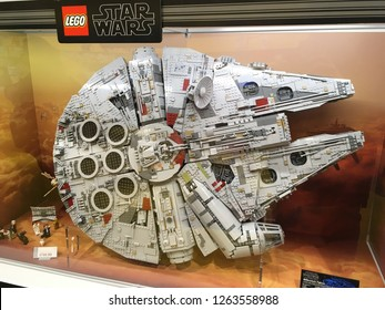 Salt Lake City, Utah / U.S.A. - December 20th 2018: Lego Store with Star Wars Millennium Falcon built with legos