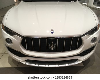 Salt Lake City, Utah / U.S.A. - January 3rd 2019: Maserati car on display at Fashion Place Mall