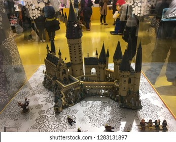 Salt Lake City, Utah / U.S.A. - January 3rd 2019: Lego Store with Hogwarts Wizarding Castle made from Legos