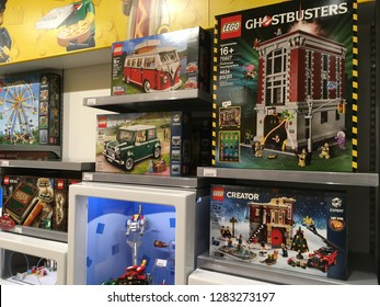 Salt Lake City, Utah / U.S.A. - January 3rd 2019: Lego Store interior with Ghostbusters Lego Set and V.W. bus set.