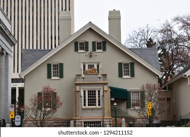 Salt Lake City, Utah / U.S.A. - January 19th 2019: Lion House downtown Salt Lake City during the daytime front view