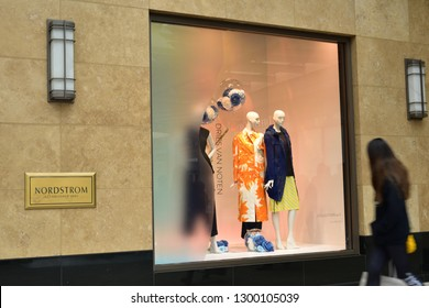 Salt Lake City, Utah / U.S.A. - January 10th 2019: Nordstrom Store façade showing mannequins and clothing on display downtown.