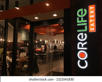 Salt Lake City, Utah / U.S.A. - February 22nd 2019: corelife eatery downtown at City Creek Shopping Center at night