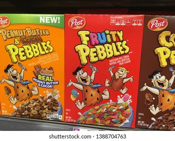 Salt Lake City, Utah / U.S.A. - May 1st 2019:  Peanut Butter & Cocoa Pebbles is Latest and newest flavor from Post Cereals delivering delicious flavors to kids and adults alike since the 19th century