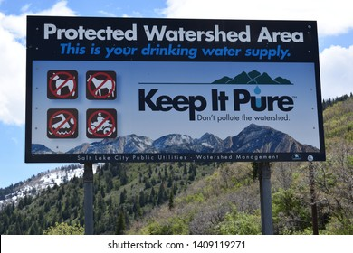 Salt Lake City, Utah / U.S.A. - May 25th 2019: Memorial weekend hiking in Lambs Canyon and coming across this big sign reminding that the area is a protected watershed area and to keep it pure