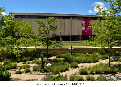 Salt Lake City, Utah / U.S.A. - June 8th 2019: View of exterior of Leonardo museum from Library Square is a place for learning and excitement for kids and adults alike