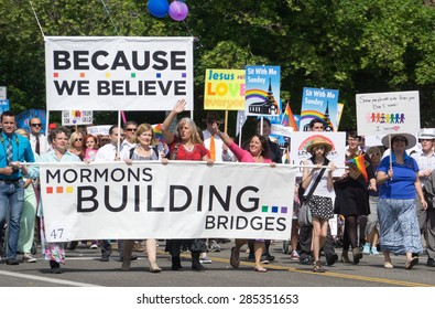 Salt Lake City, Utah, USA - June 7, 2015. Members of the group Mormons Building Bridges march in the Salt Lake City, Utah Gay Pride Parade.