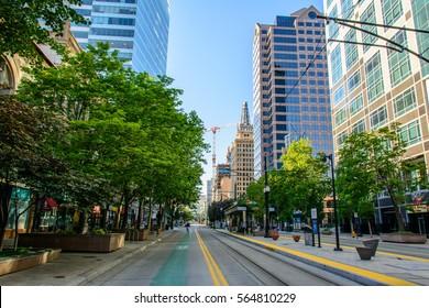 Salt Lake City, Utah, USA - June 26, 2015: Main Street in Salt Lake City