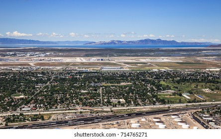 Salt Lake City, Utah, USA - May 27th, 2017:  horizontal color image of the Salt Lake City Airport, looking Westward,  with the Great Salt Lake beyond