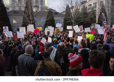 SALT LAKE CITY, UTAH/USA - MARCH 18, 2016: Protesters demonstrate outside a rally for Republican Presidential candidate Donald Trump.