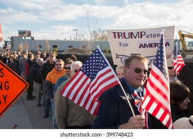 SALT LAKE CITY, UTAH/USA - MARCH 18, 2016: People line up for a rally for Republican Presidential candidate Donald Trump.