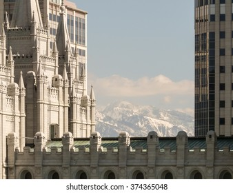 Salt Lake City, UT/USA - May 13 2008: View at the Salt Lake Temple with snowy mountains at background.
