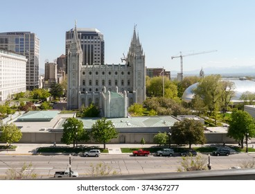 Salt Lake City, UT/USA - May 13 2008: View at the Temple Square with the Salt Lake Temple in center and Salt Lake Tabernacle at right.