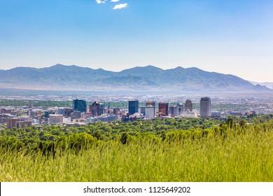 Salt Lake City Views with downtown mountains