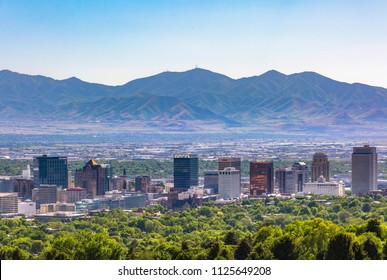 Salt Lake City Views with foreground trees